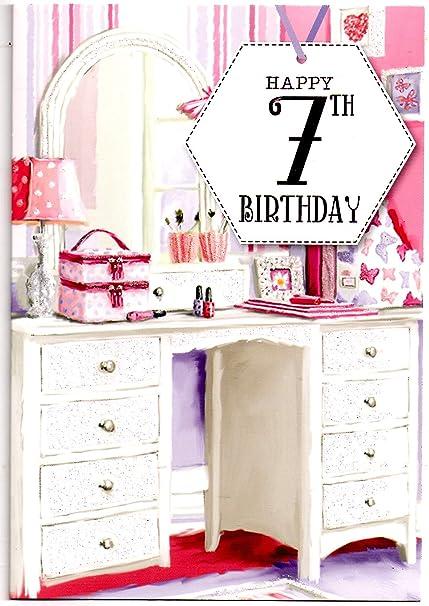 Tarjeta de felicitación de cumpleaños para niña de 7 años ...