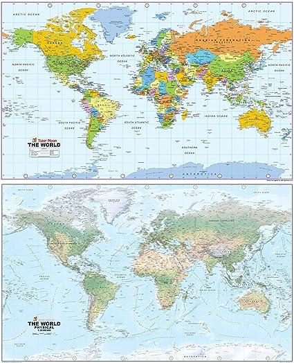 Mapa gigante del mundo – reversible que muestra un lado físico y político el otro – Ideal para pared o suelo, escuelas o hogar – Papel laminado – 130 x 80 cm: Amazon.es: Oficina y papelería