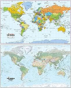 Mapa gigante del mundo – reversible que muestra un lado físico y ...