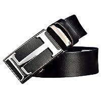 Menschwear Men's Geninue Leather Belt Adjustable Waistband with Automatic Buckle 35MM