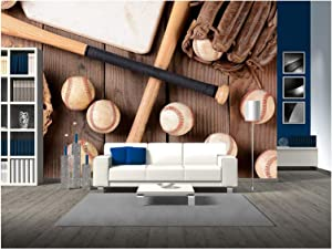 wall26 - Baseball Equipment on a Rustic Wood Surface. Items Include, Baseballs, Bats, Home Plate - Removable Wall Mural | Self-Adhesive Large Wallpaper - 100x144 inches