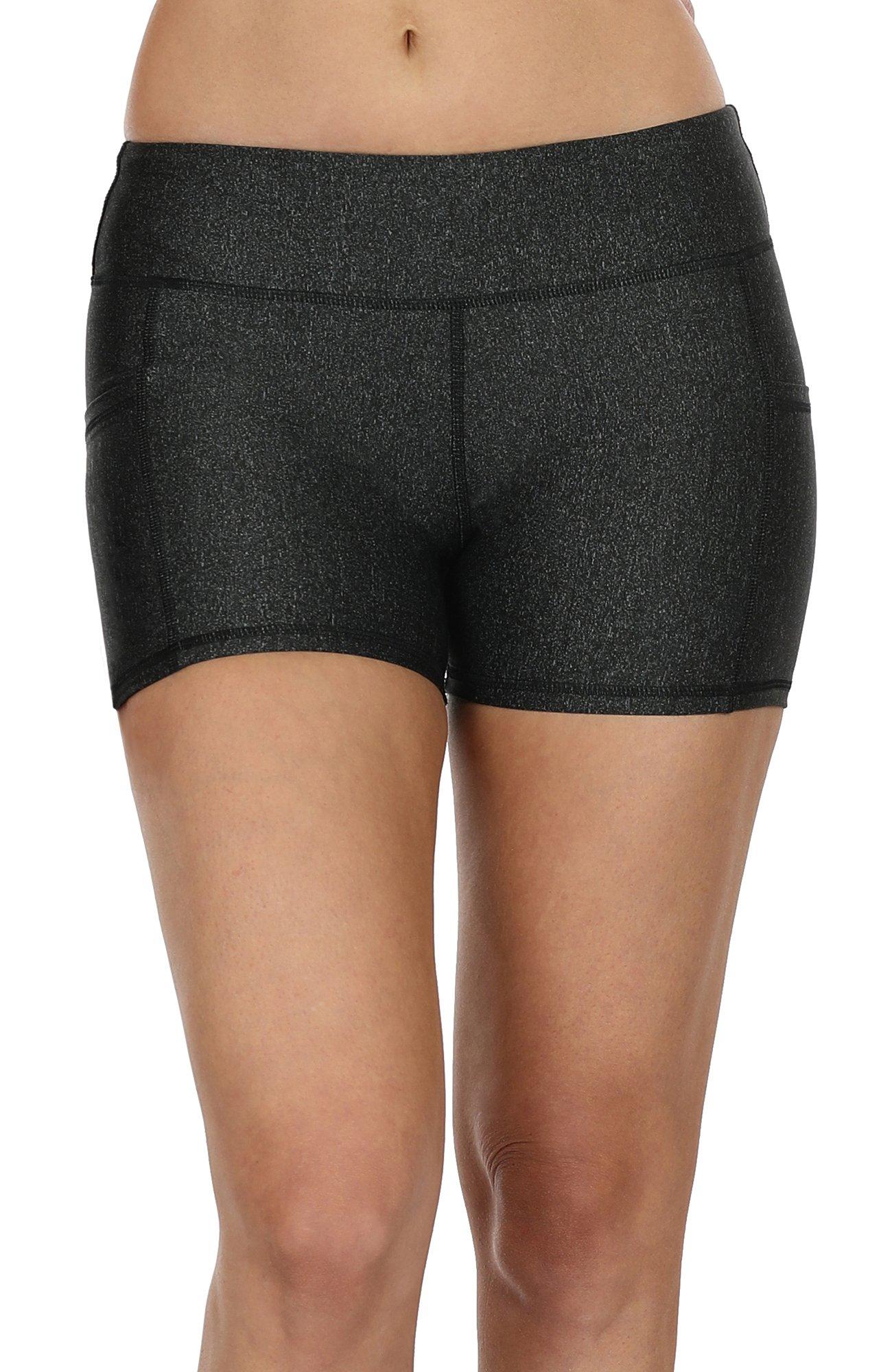 icyzone Workout Running Shorts Women - Yoga Exercise Lounge Athletic Activewear Compression Shorts Pockets & Drawstring (S, Black)