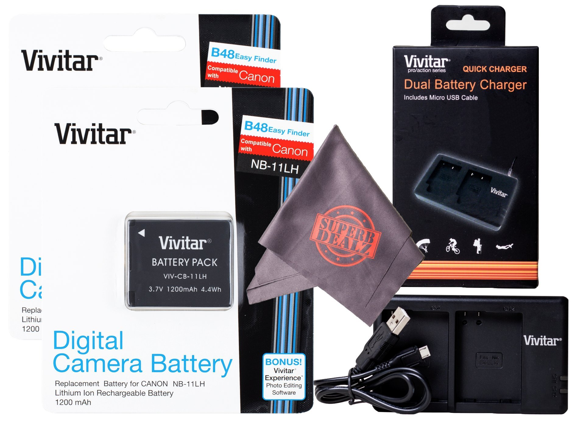 2 Pack Vivitar NB-11L / NB-11LH Vivitar Ultra High Capacity Rechargeable 1200 mAh Li-ion Batteries + Vivitar Dual Battery Charger + Microfiber Lens Cleaning