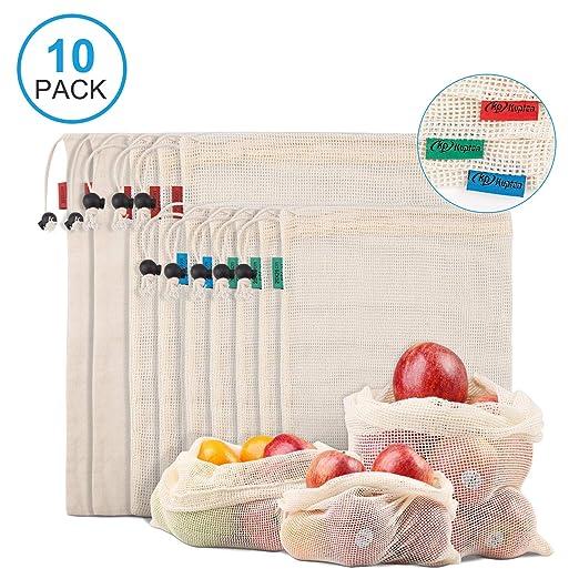 Kupton Bolsas de Comida para Fruta,Juguetes y Libros-Bolsas de Comestibles Hechas de Algodón Orgánico para una Compra sin Residuos-Ligeras,con ...