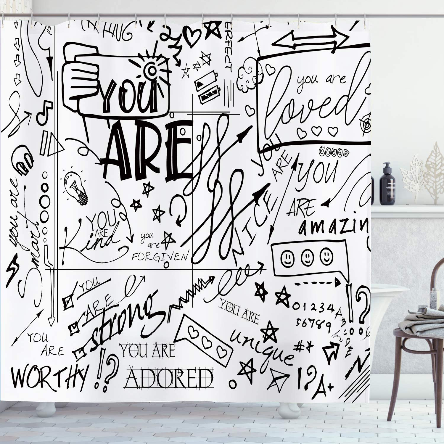 Ambzek Funny Shower Curtain Inspirational Quotes You Are Graffiti Letter Kids Teens Positive Saying Motivational Artwork Cloth Fabric Bathroom Decor Set With 12 Pack Hooks 60x71inch Black White Kitchen Dining