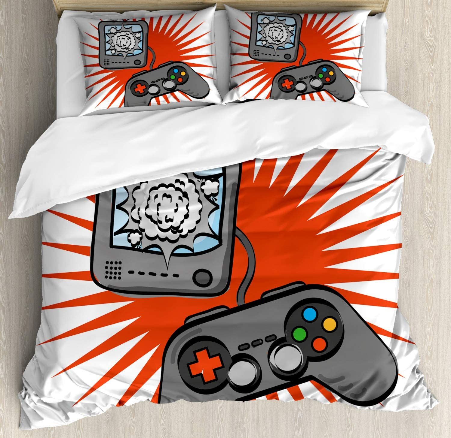 Lunarable Games Duvet Cover Set, Kids Video Games Themed Design in Retro Style Gamepad Console Entertainment, Decorative 3 Piece Bedding Set with 2 Pillow Shams, Queen Size, Orange White