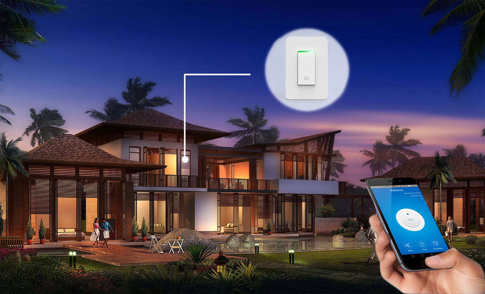 Smart Light Switch,Wi-Fi Switch Wireless Light Switch Compatible with Alexa and Google Home,Tempered Glass Touch Screen Switch with Timer Function and Overload Protection No Hub Required