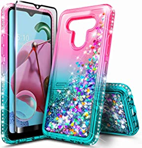 E-Began LG Stylo 6 Case with Tempered Glass Screen Protector (Full Coverage), Glitter Liquid Floating Gradient Quicksand w/Sparkling Bling Diamond, Durable Girls Phone Case for LG Stylo 6 (Pink/Aqua)