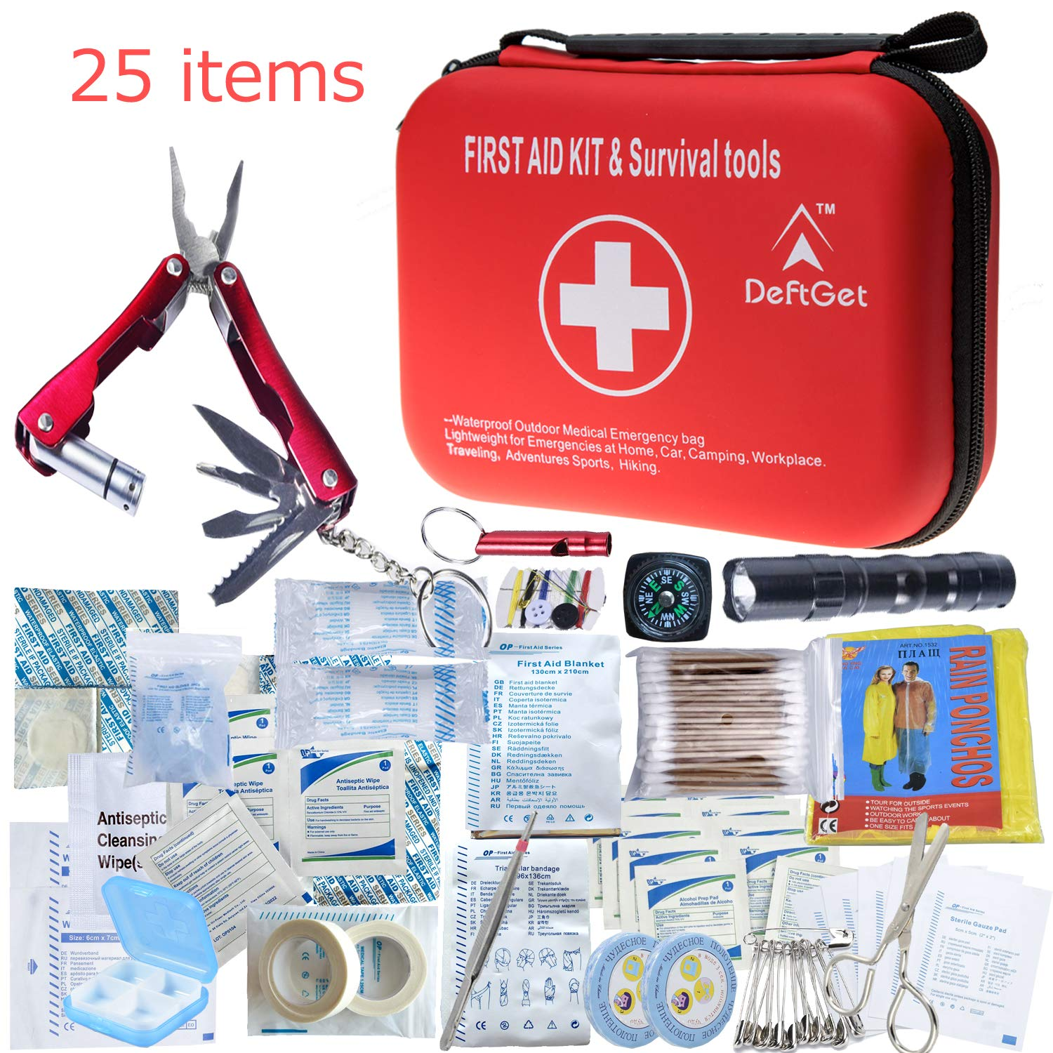 DeftGet Compact First Aid Kit - Mini Survival Tools Box - Waterproof Outdoor Medical Emergency Bag Lightweight for Emergencies at Home Car Camping Workplace Traveling Adventures Sports Hiking by DeftGet