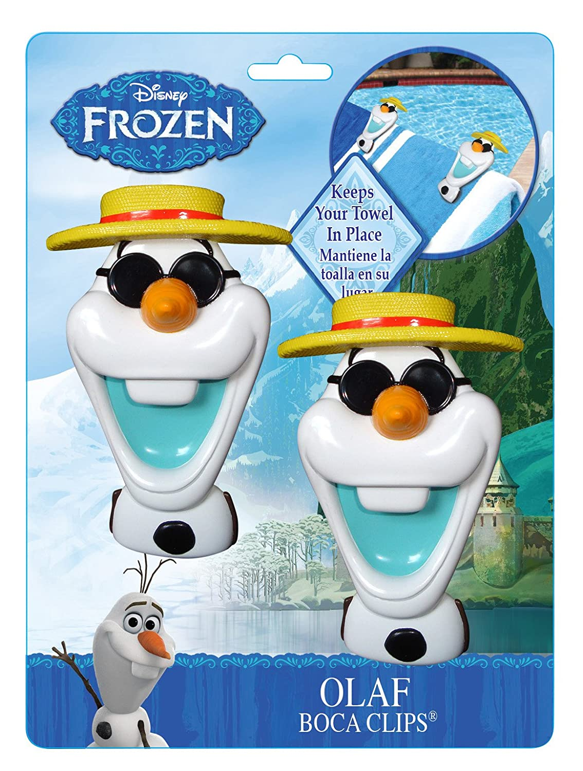 Amazon.com : Frozen Olaf BocaClips by O2COOL, Beach Towel Holder, Clips, Set of two, Beach, Patio or Pool Accessories, Portable Towel Clips, Chip Clips, ...