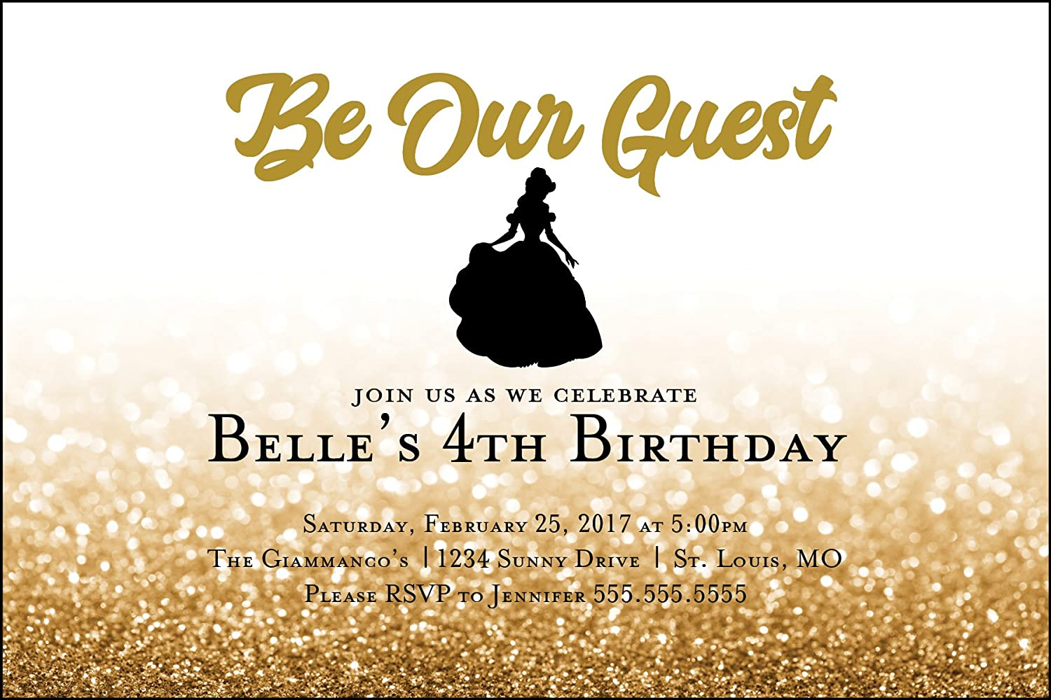Beauty and the beast birthday party invitations birthday wikii custom birthday party invitation beauty and the beast personalized please include your amazon order number in your subject line stopboris Choice Image