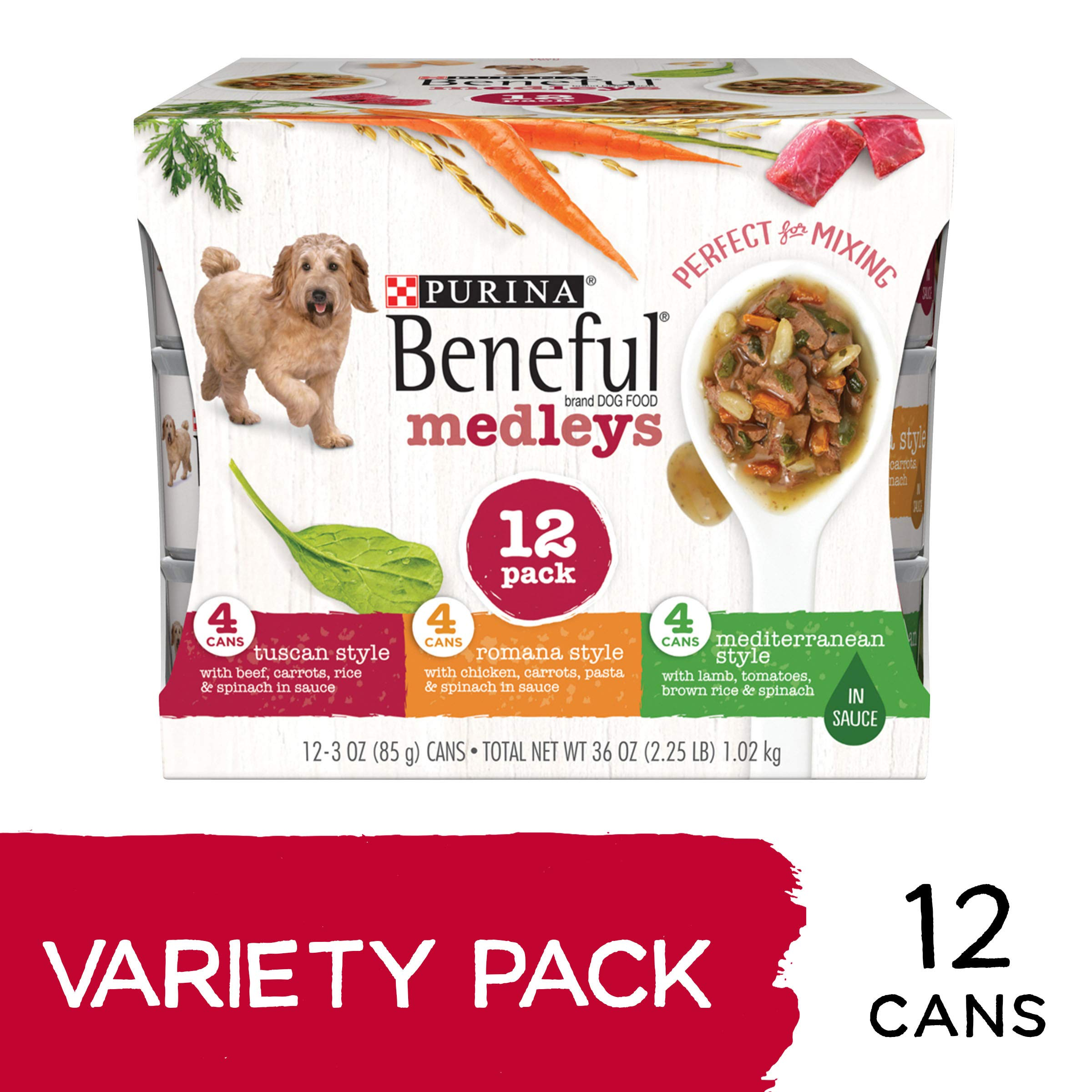 Purina Beneful Wet Dog Food Variety Pack, Medleys Tuscan, Romana & Mediterranean Style - (2 Packs of 12) 3 oz. Cans by Purina Beneful