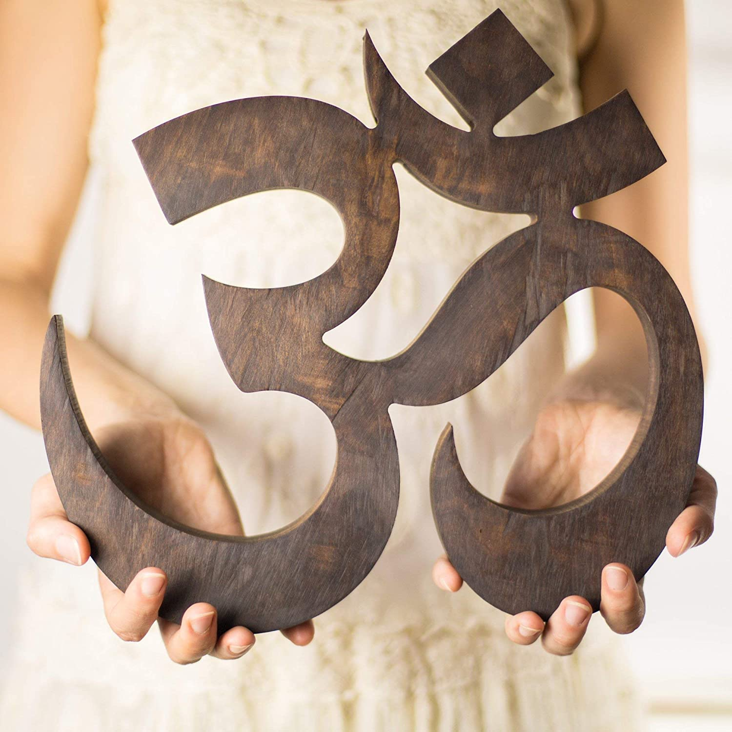 Amazon Com Large Om Wall Decor Symbol Walnut Wood Yoga Decor Studio