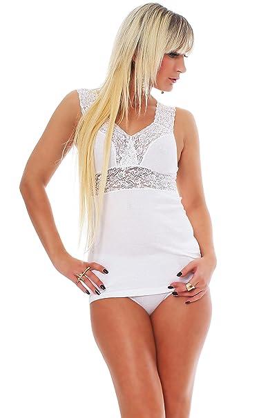 Celesté Mujer Lencería De Top con Punta, Sujetador de Camisa, 100% algodón,