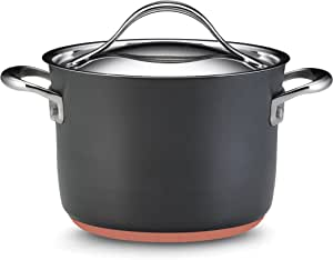 Anolon 82524 Nouvelle Copper Hard Anodized Nonstick Sauce Pan/Saucepan/Soup Pot with Lid, 4 Quart, Gray