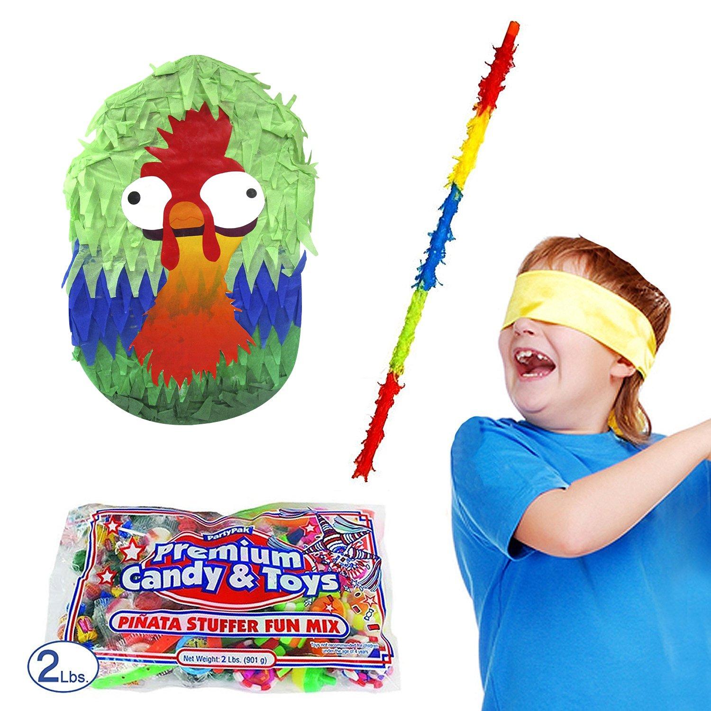 Funny Rooster Pinata Kit Including Pinata, 2 lb Candy Filler, Buster Stick and Bandana