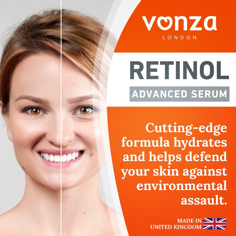 Vonza - Sérum facial de retinol de acción rápida, antienvejecimiento con ácido hialurónico y colágeno hidrolizado, vegano, no testado en animales, ...