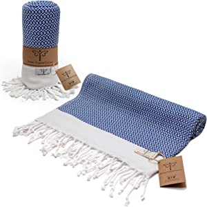 Smyrna Original Turkish Beach Towel Cotton, Prewashed, 37 x 71 Inches | Peshtemal and Turkish Bath Towel for SPA, Beach, Pool, Gym and Bathroom (Azure)