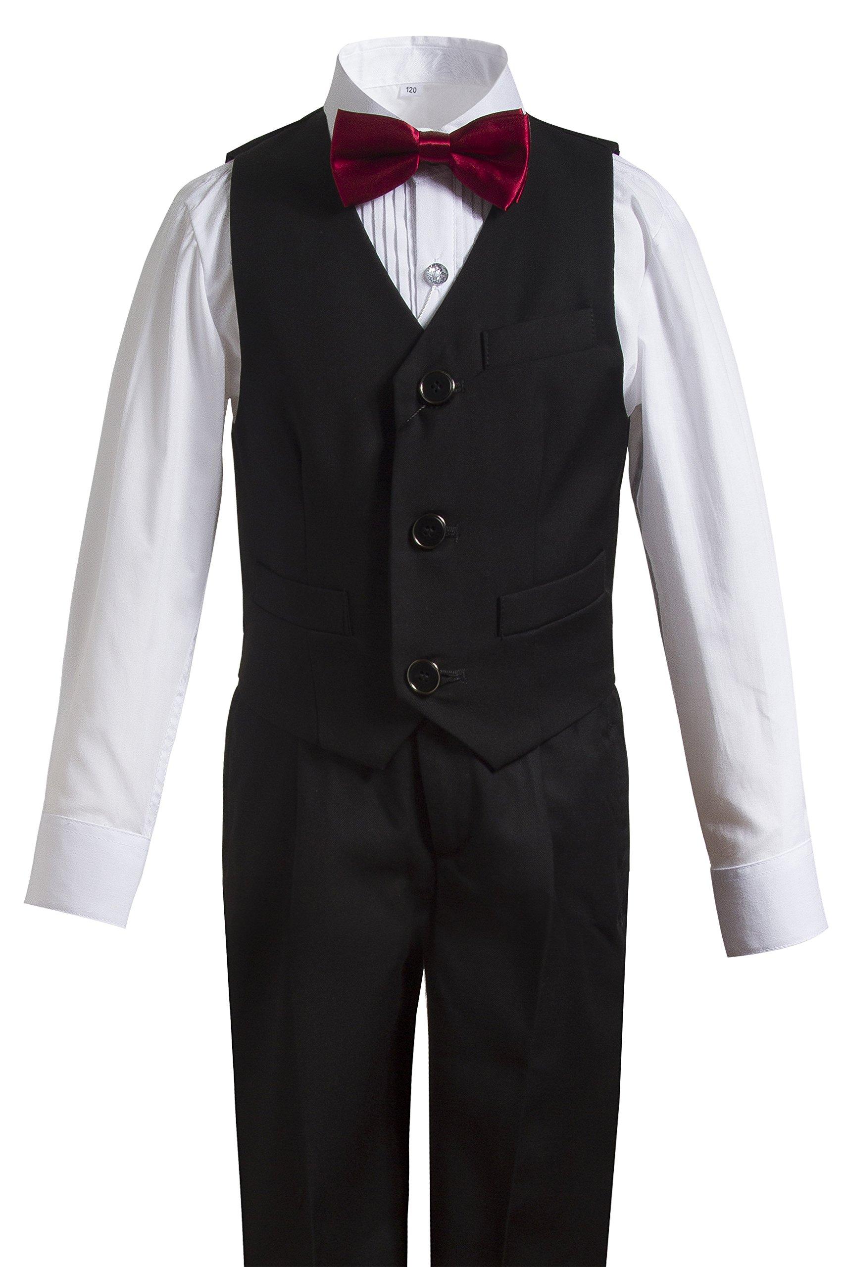 Gele Boy 4 Pieces Formal Wear Suit,Vest+Pants+Shirt+Bow Tie (5, Black)