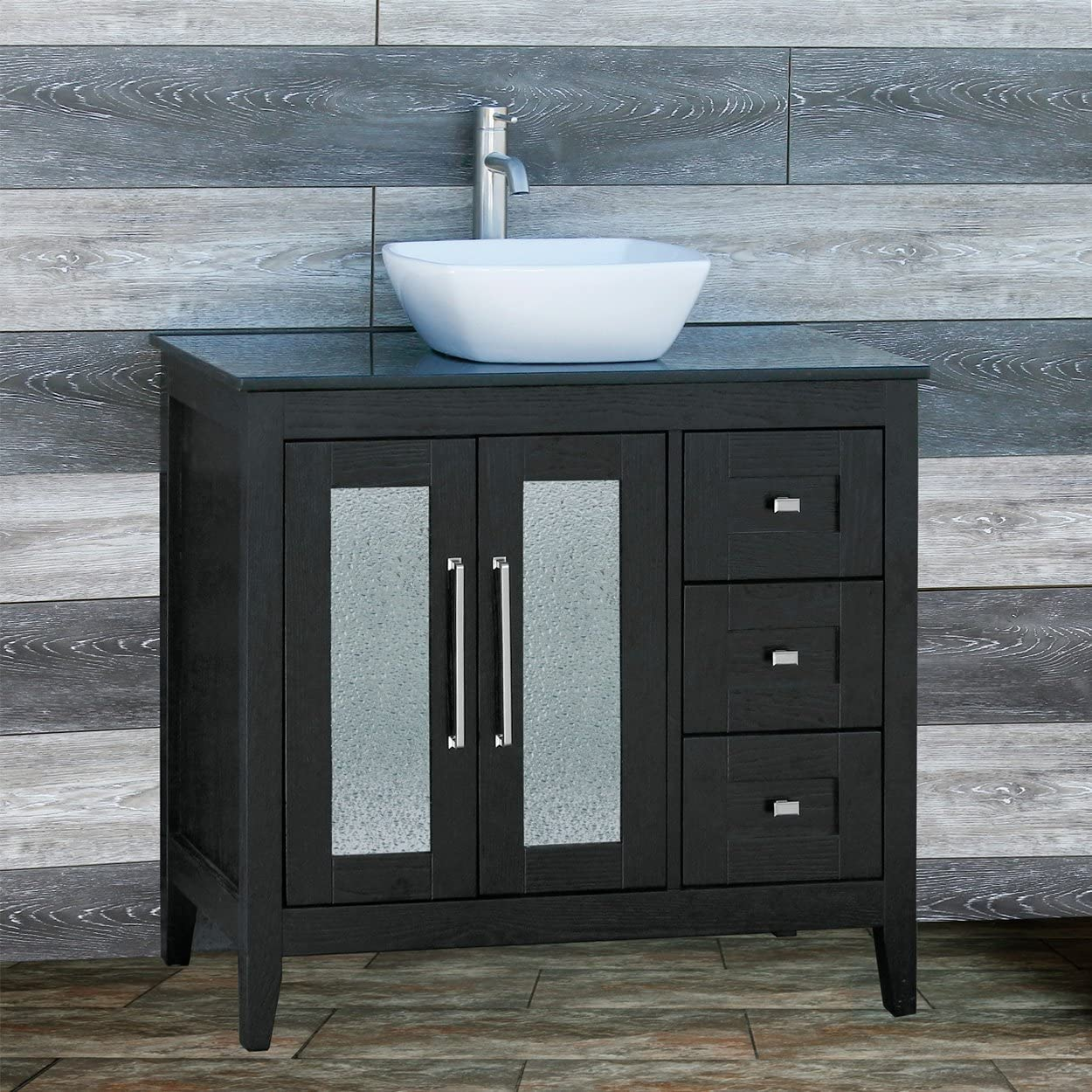 Amazon Com Solid Wood 36 Bathroom Vanity Cabinet Black Granite Top Vessel Sink Tr6 Kitchen Dining