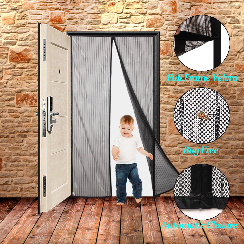 Heavy Duty Mesh /& Full Frame Velcro Fits Door Openings up to 34x82 Max Heavy Duty Mesh /& Full Frame Velcro Fits Door Openings up to 34x82 Max F20WH34B1128 Finnhomy Magnetic Screen Door Hand Free Mesh Curtain
