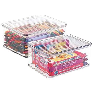 mDesign Juego de 2 cajas de almacenaje con tapa - Organizador de juguetes apilable para la habitación de los niños - Guarda juguetes fabricado en plástico ...
