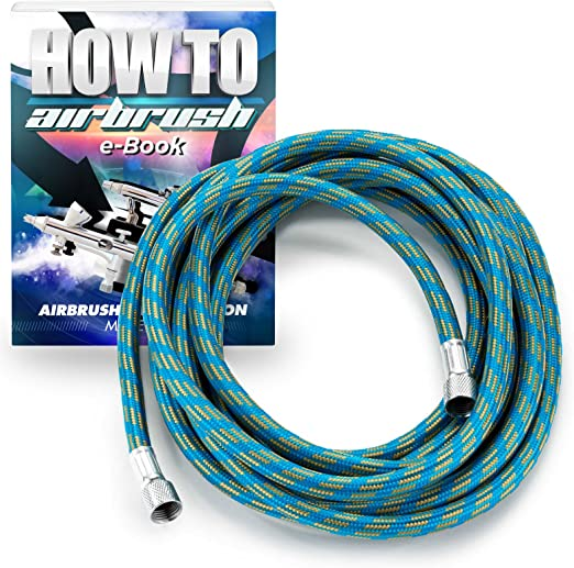 Weberdisplays 20 Ft Long Braided Airbrush Hose with 1//8 inch to 1//8 inch BSP fittings and One 1//8 to 1//4 end Coupling Coupler Fitting For Air Brush