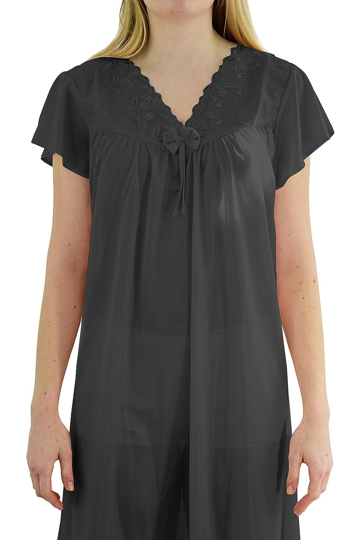 4e6a679a47 Ezi Women s  Wendy  Cap Sleeve Satin Nightgown at Amazon Women s Clothing  store