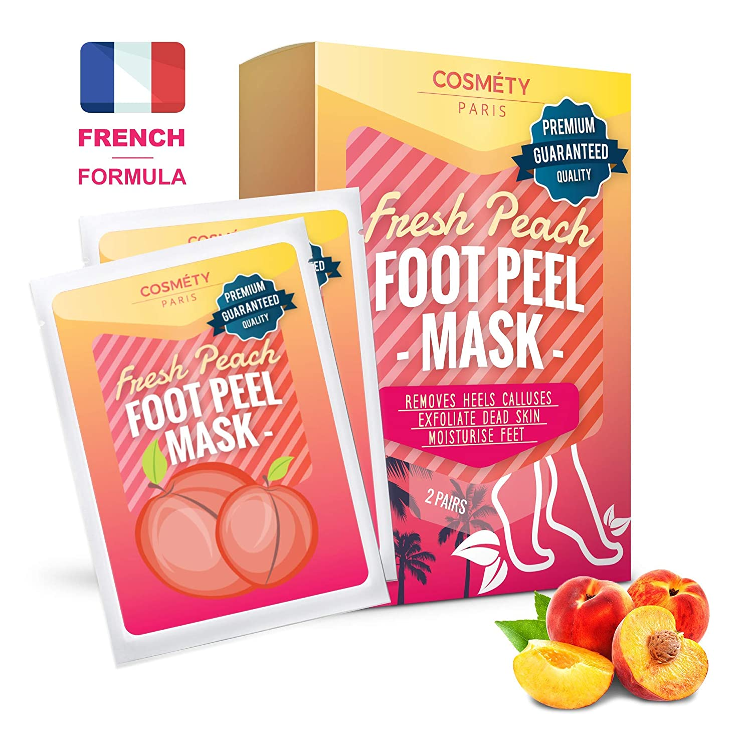 Exfoliating Foot Peeling Mask for Soft Baby Feet - 2 Pairs - Removes Calluses, Dead and Dry Skin - Repairs Rough Heels in 7 Days; For Men and Women; Natural Gel Socks Booties; Antioxidant Cosmety Paris