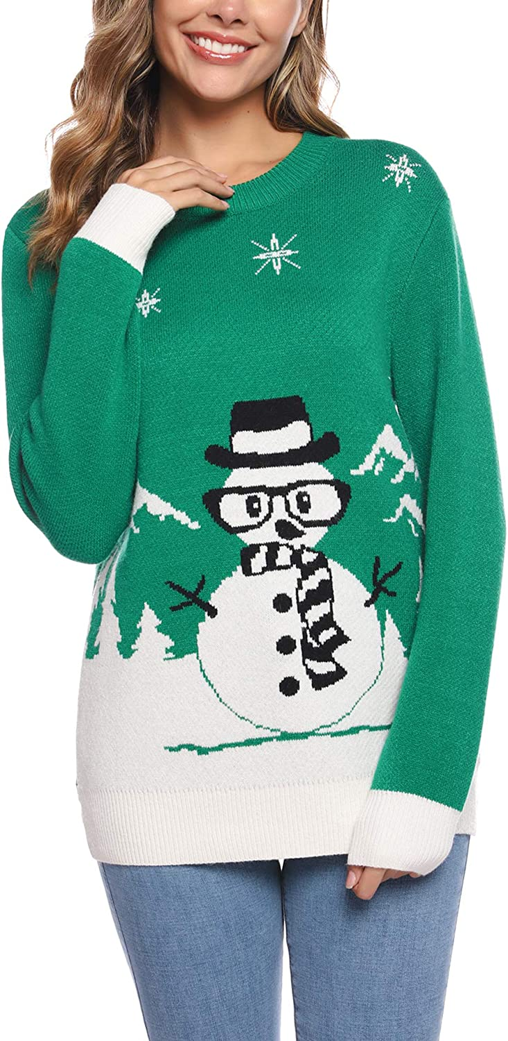 Sykooria Women's Christmas Sweater Ugly Snowman Snowdog Snowflake Tree Knitted Pullover Long Sleeves