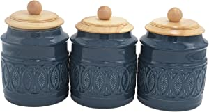 Ravenna Classic Stoneware 3-Piece Filigree Canister Set - Set of 3, Blue with Wood Lid