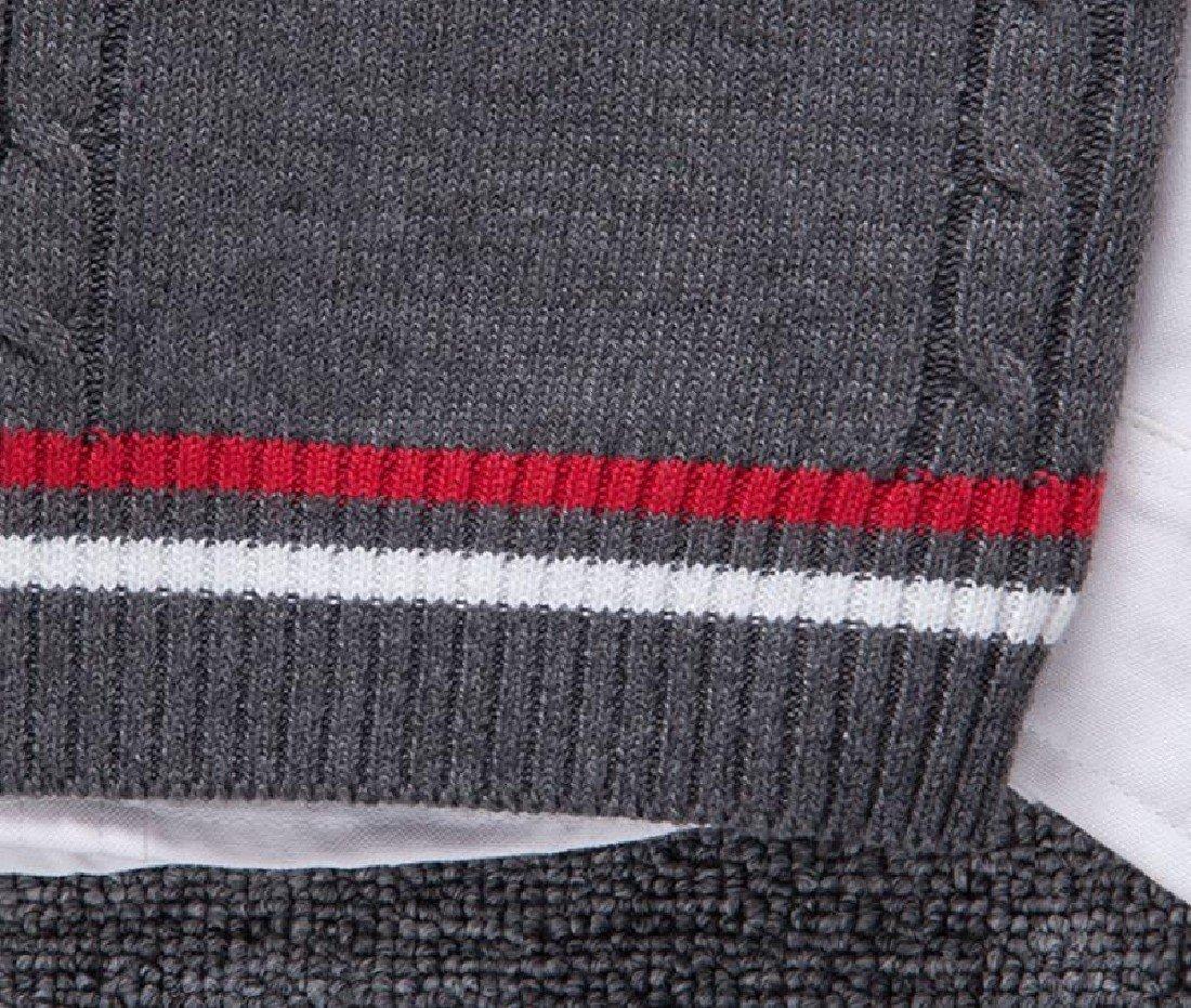 Doufine Mens Pullover Knitted Slim V-Neck Sleeveless Sweater Vest Dark Grey S by DoufineMen (Image #6)