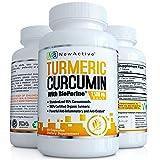 NewActive 1500mg Non-GMO Organic Turmeric Curcumin with Bioperine Dietary Supplement, 90 Veggie Capsules, 1 Month Supply