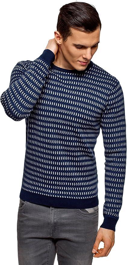 TALLA XL. oodji Ultra Hombre Jersey de Jacquard a Rayas