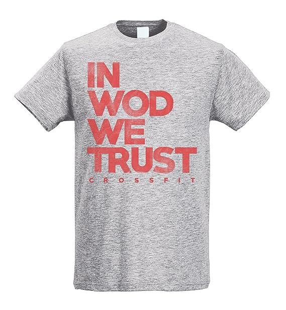 LaMAGLIERIA Camiseta Hombre Slim in WOD We Trust Red Print - Camiseta Crossfit Workout Fitness 100% Algodòn Ring Spun: Amazon.es: Ropa y accesorios
