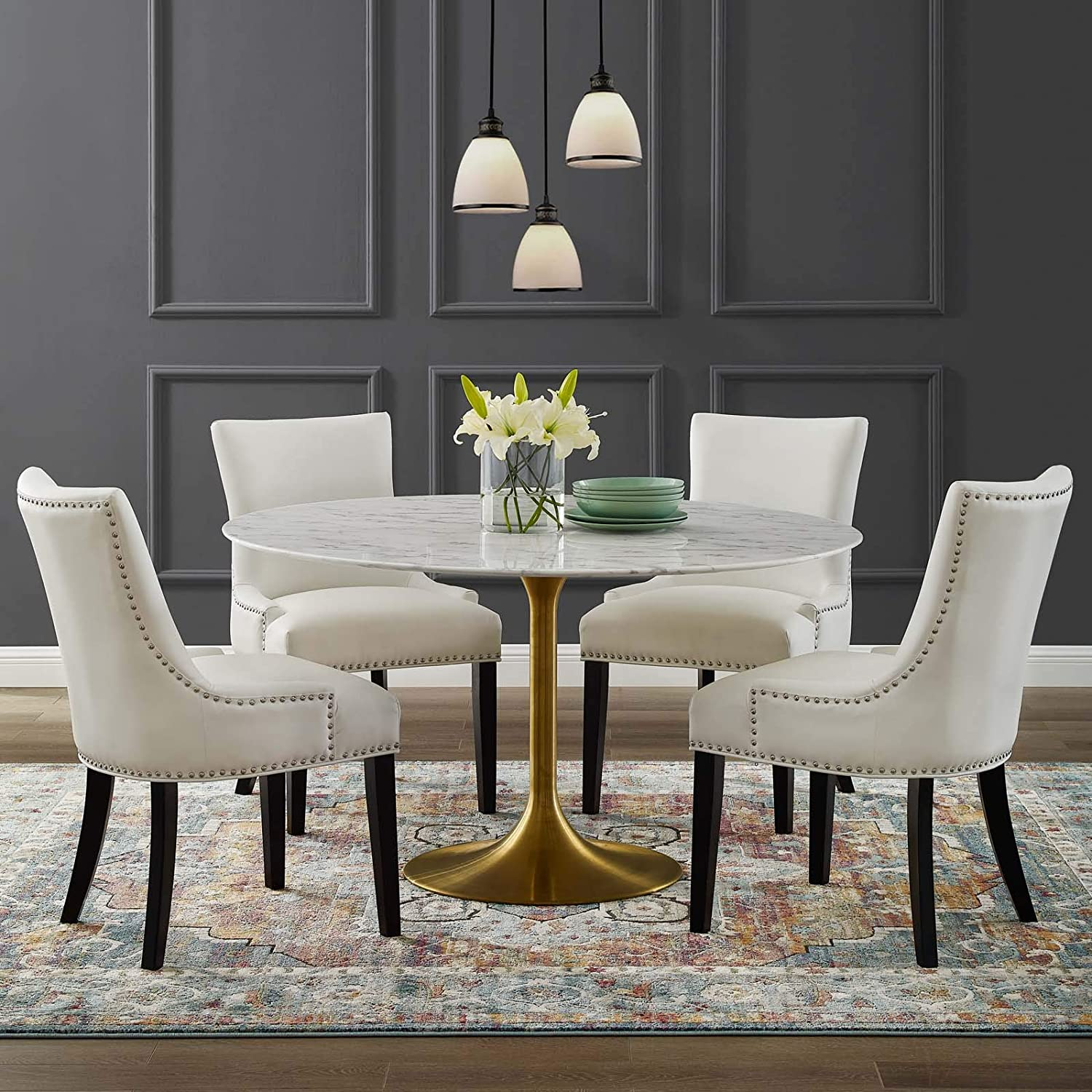 Amazon Com Modway Lippa 54 Mid Century Dining Table With Round Artificial Marble Top In Gold White Tables