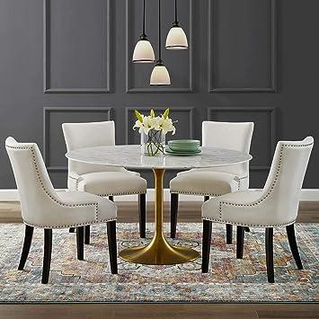 Modway EEI-3233-GLD-WHI Lippa 54 Round Dining Table Gold White