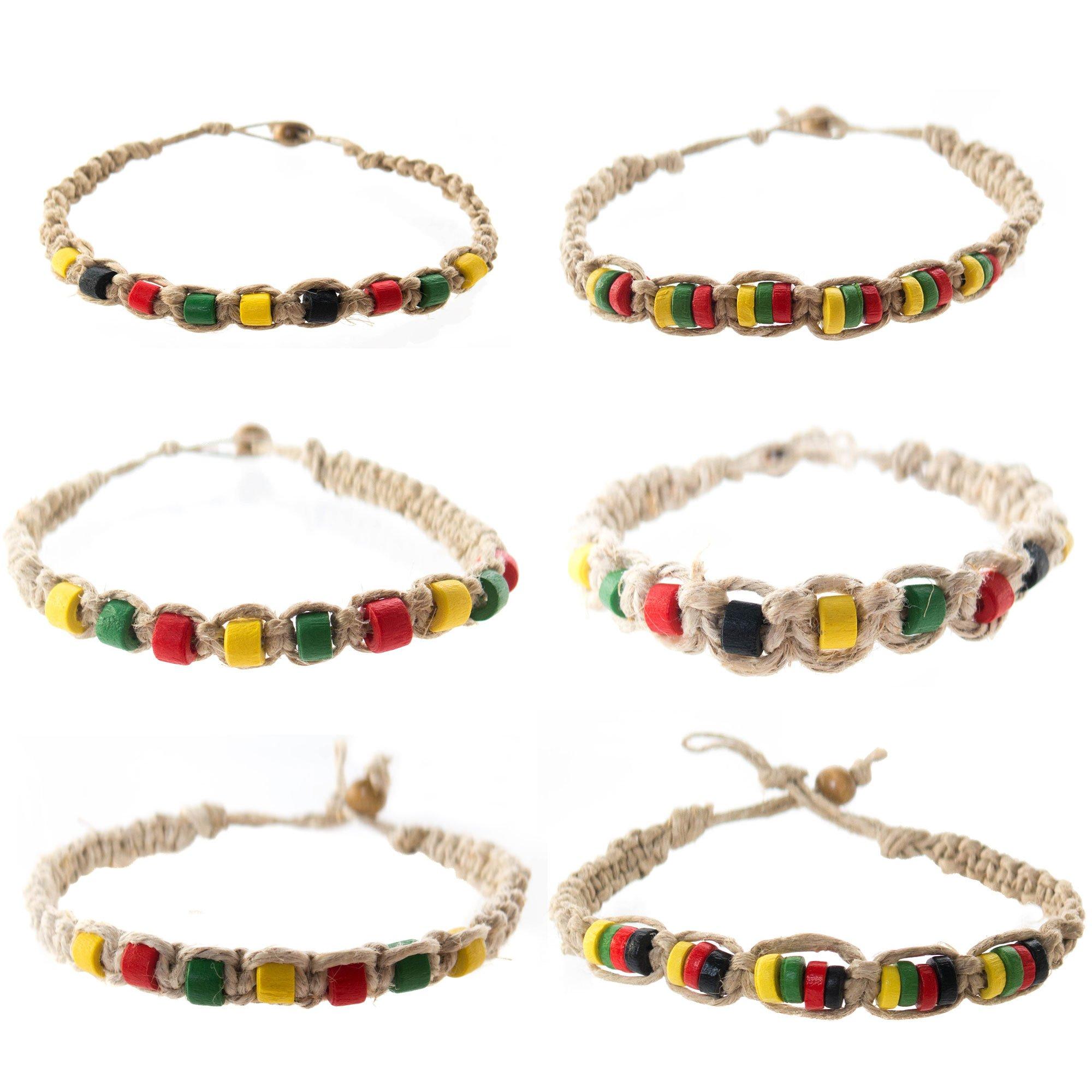 FROG SAC Hemp Bracelet for Men 6 PCs Pack - Rasta Bracelets with Jamaican Color Beads - Handmade - Braided with Natural Rope - Mens Reggae Theme Surfer Summer Jewelry