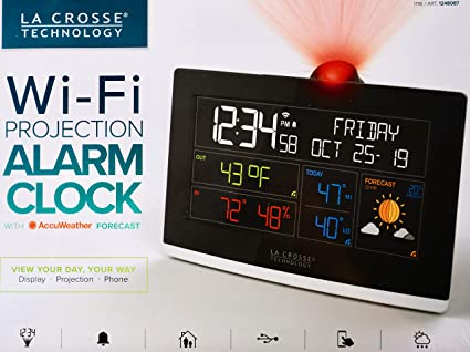 La Crosse Wi-Fi Projection Alarm Clock AccuWeather Forecast