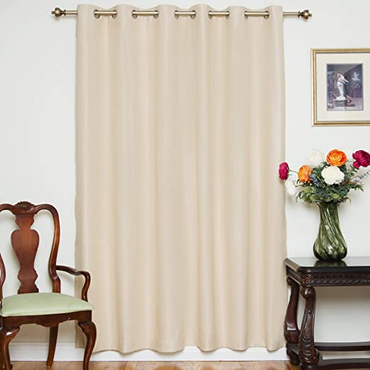 Amazon Com Blackout Curtain Beige Wide Width Nickel Grommet Top