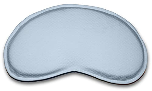 Bonmedico® Guardian Baby Pillow, anti-flat head syndrome (positional plagiocephaly) cranial reshaping / head positioning pillow with suffocation-preventing shape for healthy air flow and paediatric skull formation for use in pram/pushchair, bassinet, cot, changing table, made of 100% non-toxic, viscoelastic memory foam in cream, blue, or pink.
