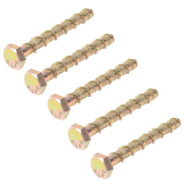 M6 x 75mm - Pack of 10 Bulk Hardware BH03043 Concrete//Masonry Screw Anchor Hex Head Bolt 1//4 inch x 3 inch
