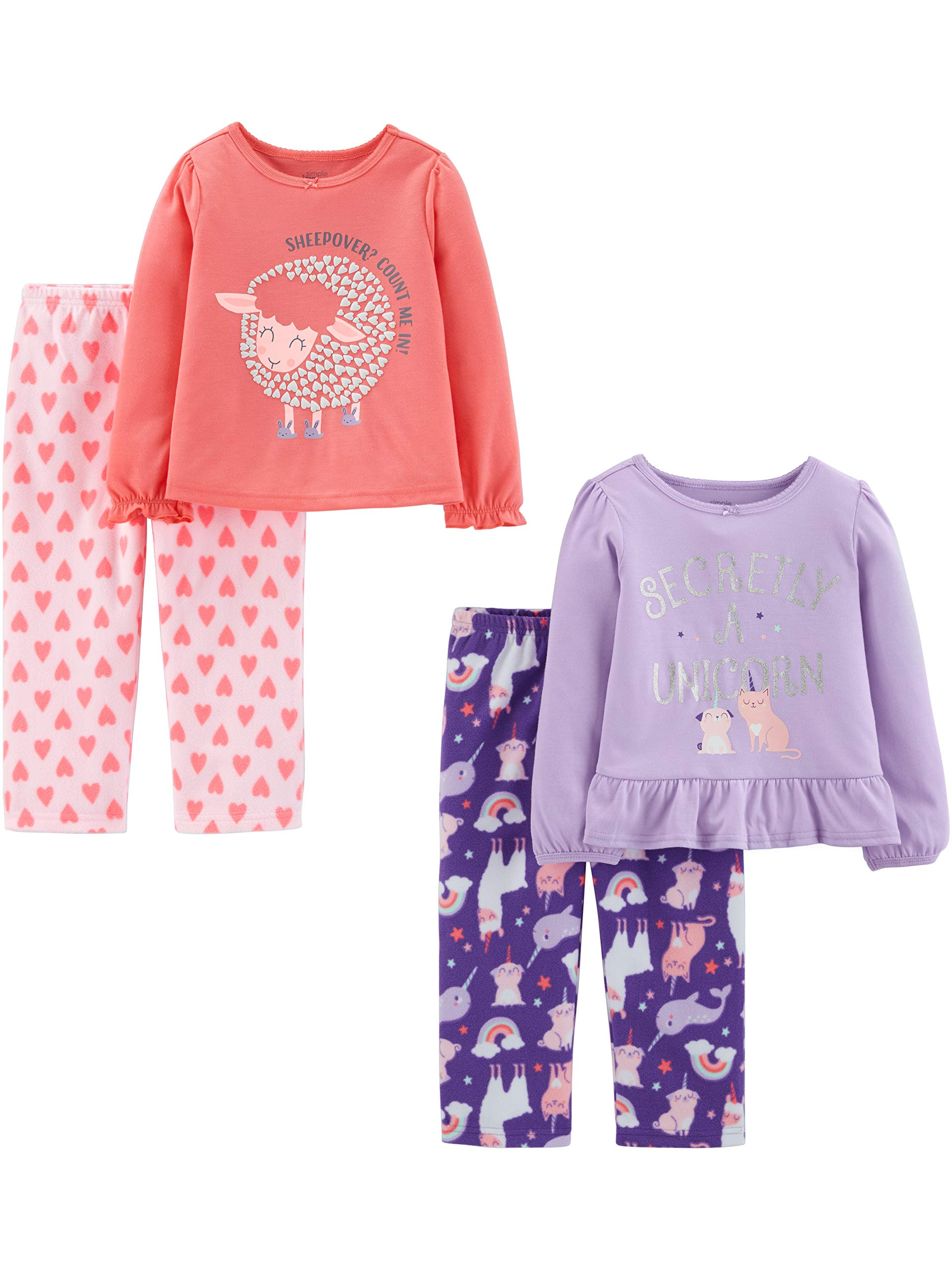 Simple Joys by Carter's Toddler Girls' 4-Piece Fleece Pajama Set (Poly Top & Fleece Bottom)