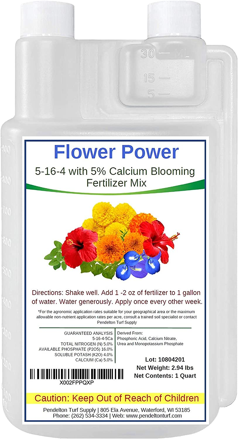 Flower Power 5-16-4 with 5% Added Calcium | All Natural Liquid Blooming Fertilizer Concentrate | Indoor and Outdoor Use | NPK Food for Flowers, Plants, Gardens, Trees, Grasses, Shrubs & More (32 oz)