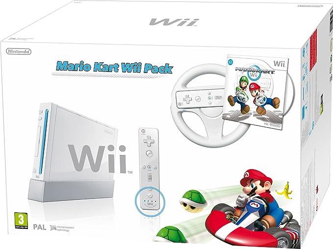 Nintendo Wii (White) with Mario Kart: Includes White Wii Wheel and Wii Remote Plus [Importación inglesa]: Amazon.es: Videojuegos