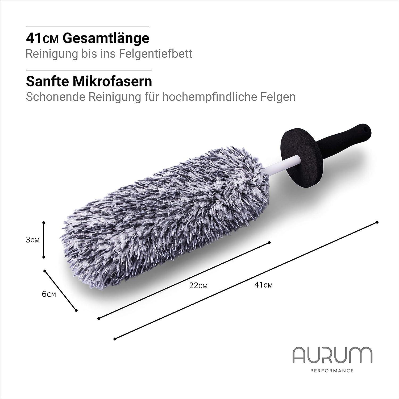 Aurum Performance Premium Felgenbürste Alufelgen Soft Mikrofaser Felgen Bürste Für Eine Besonders Schonende Reinigung Bis Ins Felgentiefbett Lange Profi Auto Felgenreinigungsbürste Auto