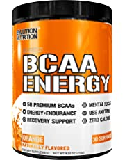 Evlution Nutrition BCAA Energy - High Performance Amino Acid Supplement for Anytime Energy, Muscle Building, Recovery and Endurance, Pre Workout, Post Workout (Orange, 30 Servings)