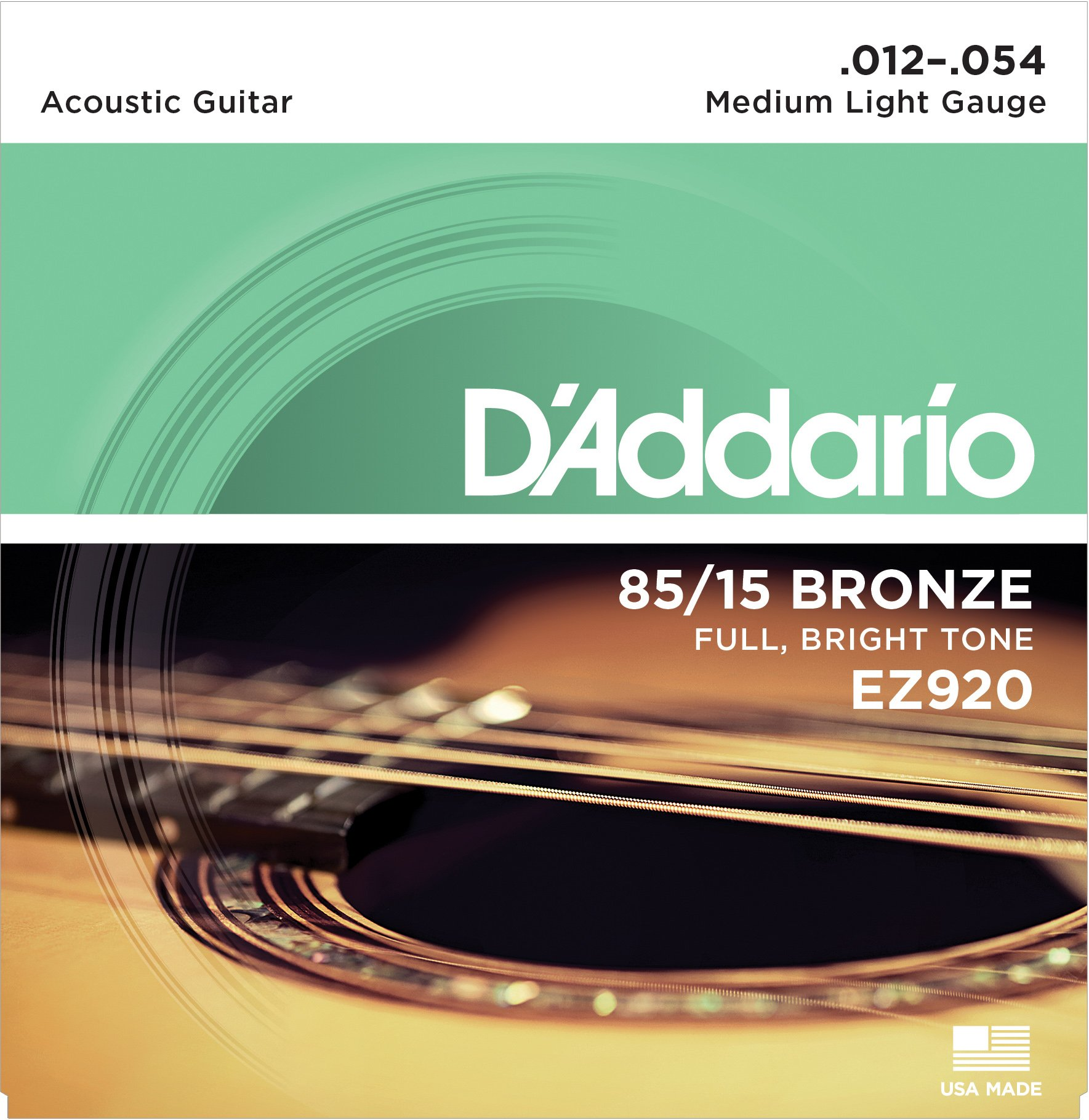 D'Addario EZ920 85/15 Bronze Medium Light Acoustic Guitar Strings product image