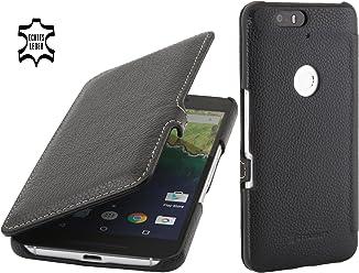 StilGut Book Type avec Clip, Housse en Cuir avec Fonction Smart Cover pour Google Nexus 6P, en Noir