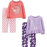 Simple Joys by Carter's Toddler Girls' 4-Piece Fleece Pajama Set (Poly Top & Fleece Bottom)